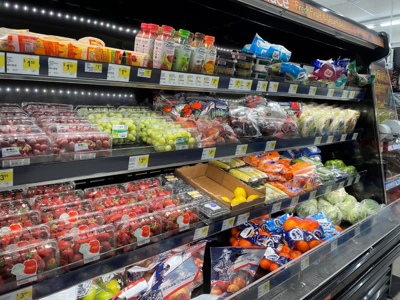 A view of a fresh food aisle at a Dollar General store in Norridge, Chicago