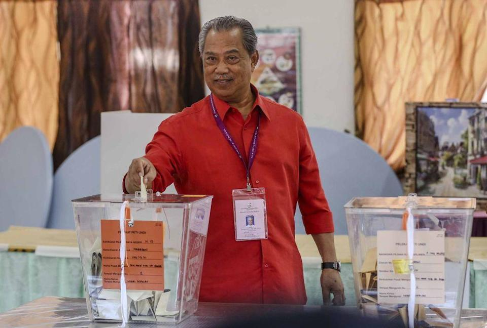 Tan Sri Muhyiddin Yassin casts his vote at a polling station in Muar back in the 2018 elections. ― Picture by Firdaus Latif
