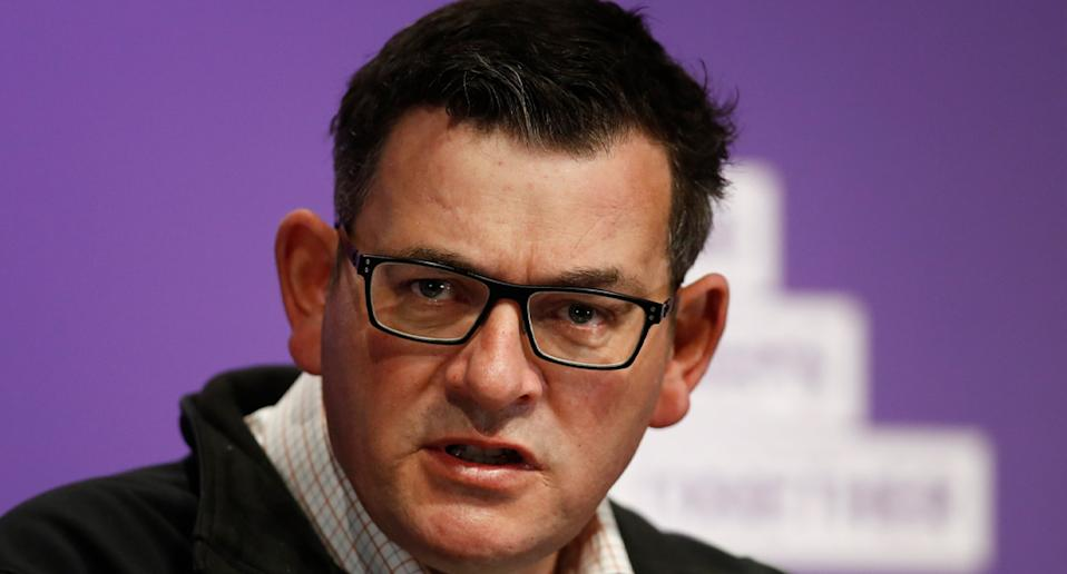 Premier Daniel Andrews made it clear he did not approve of Victorians refusing to wear face coverings. Source: AAP