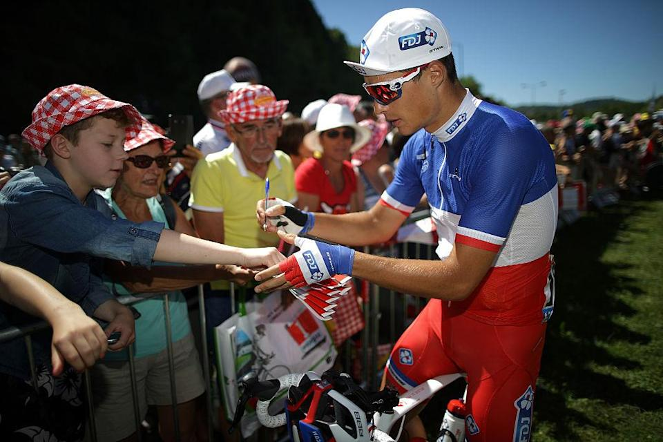 French road race champion Arthur Vichot (FDJ) signs autographs for fans at the 2016 Tour de France