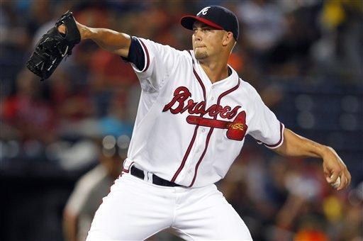 Atlanta Braves starting pitcher Mike Minor (36) works in the first inning of a baseball game against the San Francisco Giants, Wednesday, July 18, 2012, in Atlanta. (AP Photo/John Bazemore)