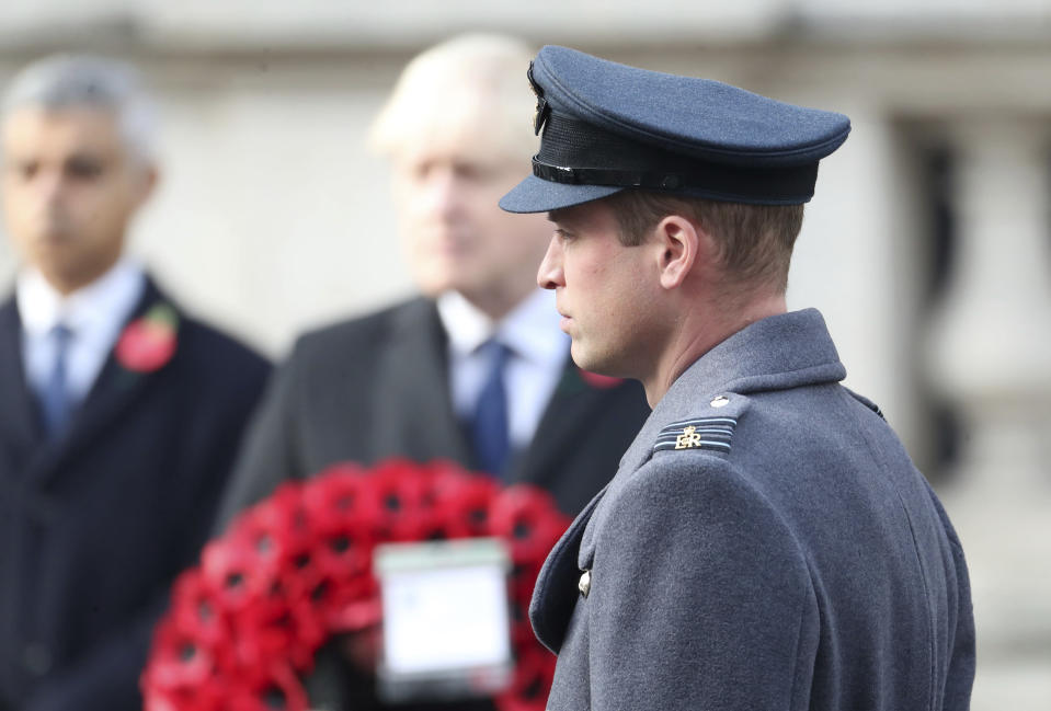 Britain's Prince William looks on, during the Remembrance Sunday service at the Cenotaph, in Whitehall, London, Sunday Nov. 8, 2020. (Chris Jackson/Pool Photo via AP)