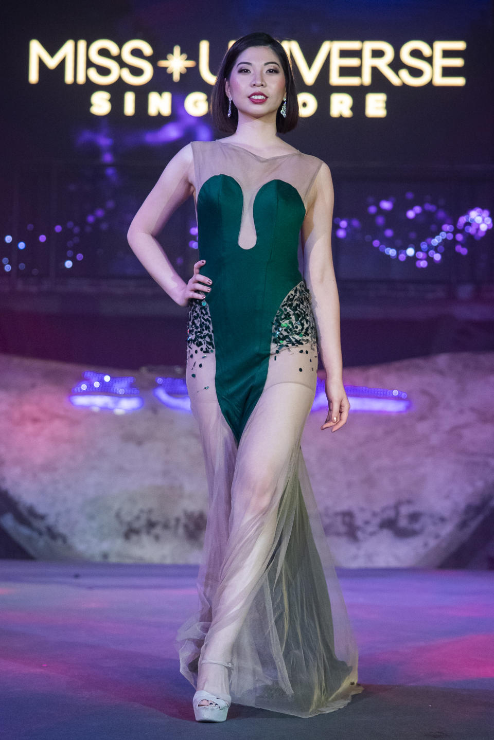 Mia Chow competing in the evening gown segment during the 2019 Miss Universe Singapore at Zouk.