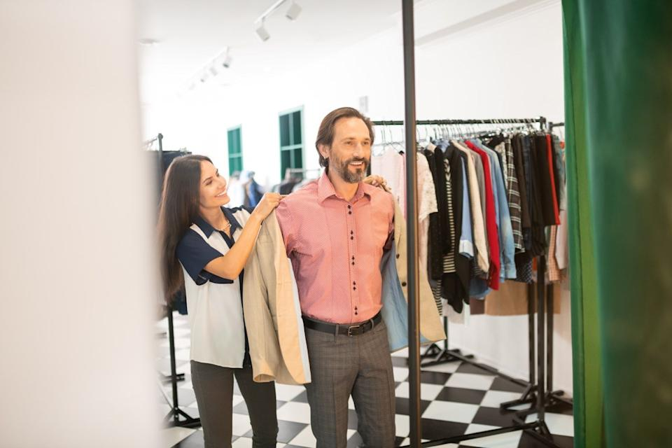 Man shopping for a nice outfit that fits well style tips over 40