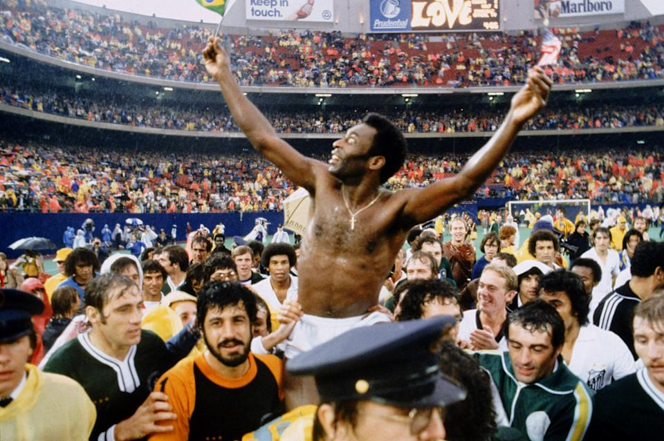Pele after his final game for the New York Cosmos  (Photo by Peter Robinson/EMPICS via Getty Images)