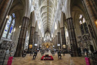 People attend a service to mark the 80th anniversary of the Battle of Britain at Westminster Abbey, London, Sunday, Sept. 20, 2020. (Aaron Chown/Pool Photo via AP)