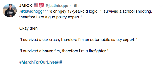 A Twitter user mocks and dismisses Parkland shooting survivor David Hogg.