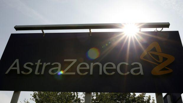 A sign is seen at an AstraZeneca site