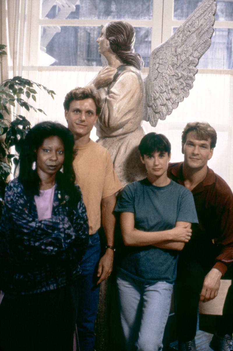 American actors Whoopi Goldberg, Tony Goldwyn, Demi Moore and Patrick Swayze on the set of Ghost, directed by Jerry Zucker. (Photo by Paramount Pictures/Sunset Boulevard/Corbis via Getty Images)