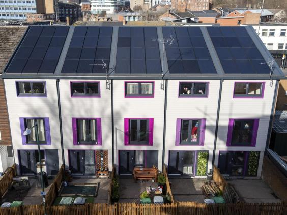Newly refitted carbon neutral homes in Sneinton, Nottingham – transformed using the Dutch pioneering Energiesprong technique (Nottingham City Council)