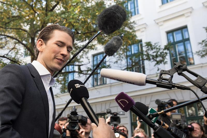 Austria's Foreign Minister and leader of the centre-right People's Party (OeVP) Sebastian Kurz talks with journalists in Vienna, Austria, on October 15, 2017