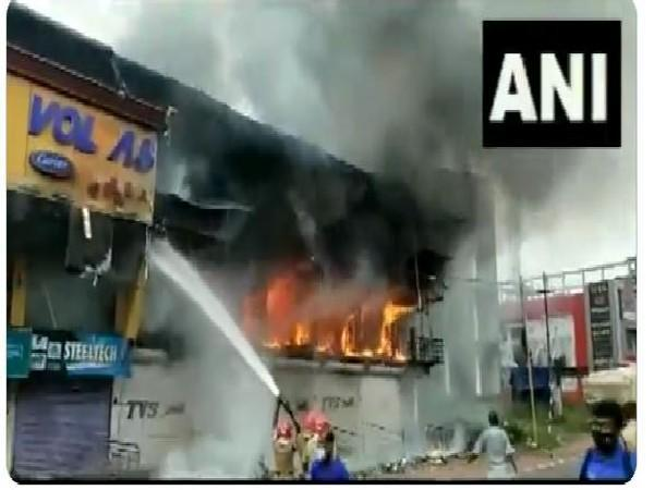 Fire broke out at a godown of a furniture shop in Kannur (Photo/ANI)