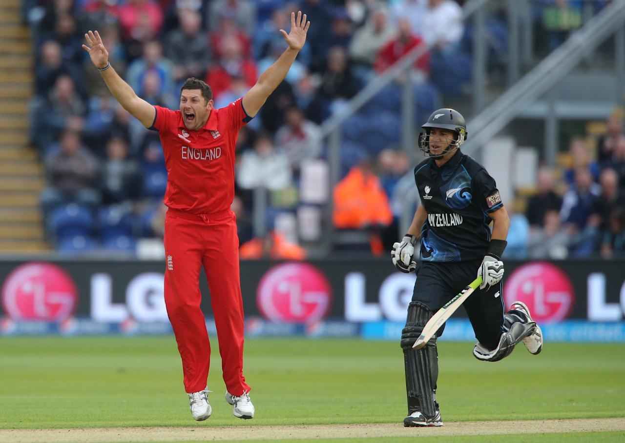England 's Tim Bresnan celebrates trapping New Zealand batsman Ross Taylor LBW during the ICC Champions Trophy match at the SWALEC Stadium, Cardiff.