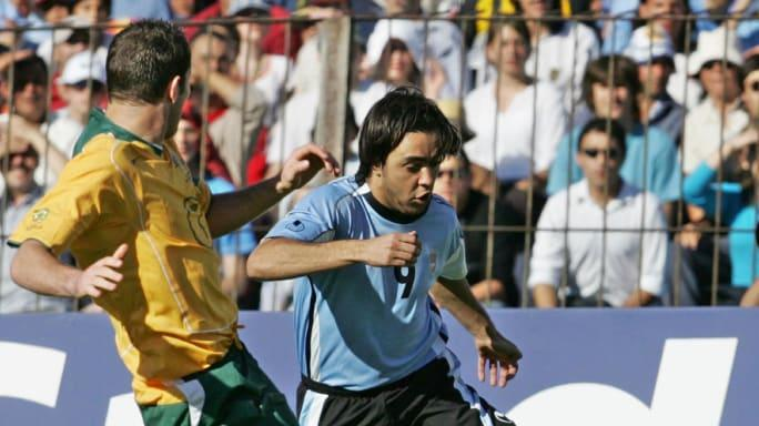 Alvaro Recoba from Uruguay vies with Jas
