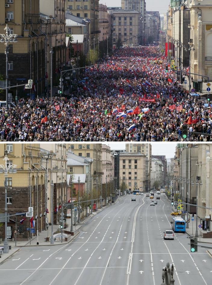 In this two photo combination picture, top photo shows People carry portraits of relatives who fought in World War II, during the Immortal Regiment march through the main street toward Red Square celebrating 74 years since the victory in WWII in Red Square in Moscow, Russia on taken on Thursday, May 9, 2019, and bottom photo shows an almost empty main street during the 75th anniversary of the Nazi defeat in World War II in Moscow, Russia, Saturday, May 9, 2020. A massive Victory Day parade on Red Square was cancelled due to the coronavirus outbreak, but Russia marked the holiday with the flyby. (AP Photo/Denis Tyrin)