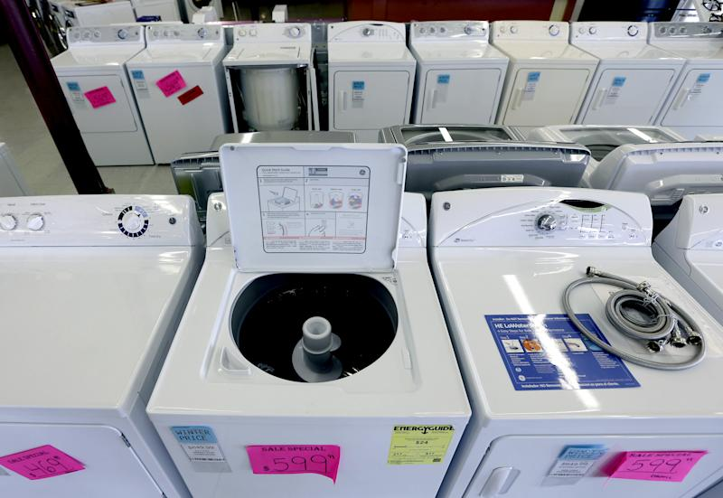 In this Tuesday, Feb. 26, 2013, photo, washing machines are for sale at Green's, a furniture and appliance store, in Albany, N.Y. U.S. orders for long-lasting goods that signal business investment plans fell in February by the largest amount in seven months, although the decline followed a strong month in January and may prove to be a temporary setback. (AP Photo/Mike Groll)