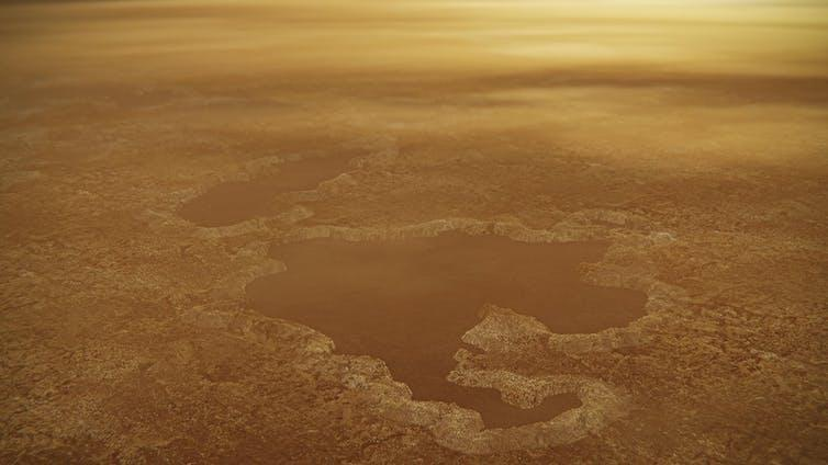 Artist's impression of the surface of Titan, covered in a lake of methane.