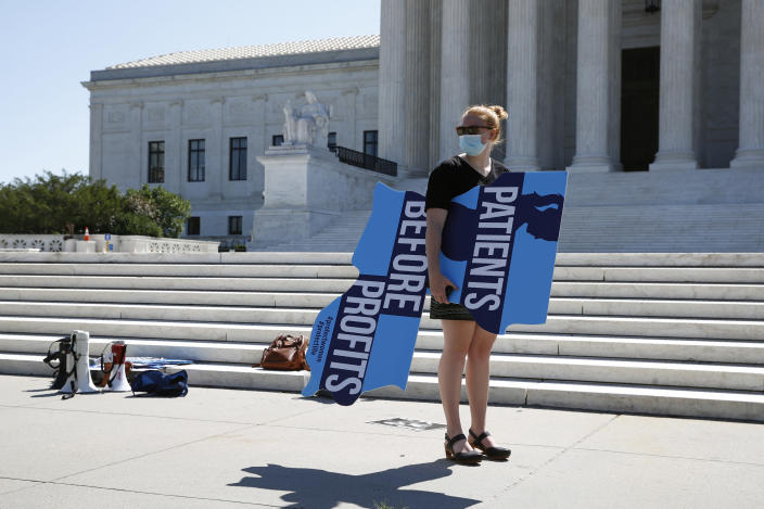 An anti-abortion protester prepares to leave outside the Supreme Court after the vote to repeal a Louisiana lawon Capitol Hill in Washington, Monday, June 29, 2020. (Patrick Semansky/AP)