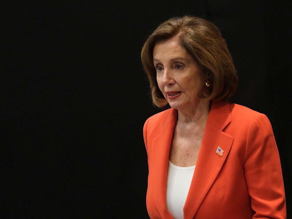 Nancy Pelosi arrives to speak to the media with a US Congressional delegation: Getty Images