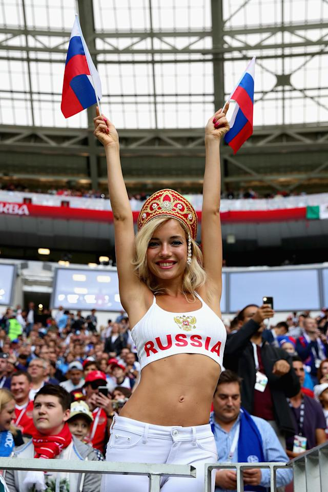 <p>A Russia fan enjoys the atmosphere in the stadium before the 2018 FIFA World Cup Russia group A match between Russia and Saudi Arabia at Luzhniki Stadium on June 14, 2018 in Moscow, Russia. (Photo by Chris Brunskill/Fantasista/Getty Images) </p>