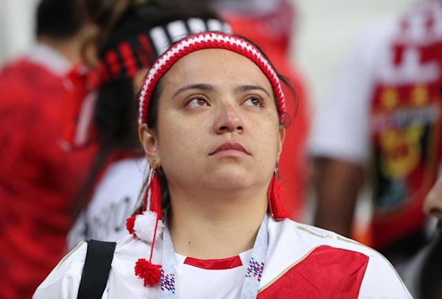 Soccer Football - World Cup - Group C - Peru vs Denmark - Mordovia Arena, Saransk, Russia - June 16, 2018 Peru fan looks dejected after the match REUTERS/Marcos Brindicci