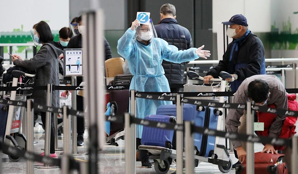 Passengers arrive at Hong Kong International Airport last month. Only one of Tuesday's confirmed cases was imported. Photo: Nora Tam