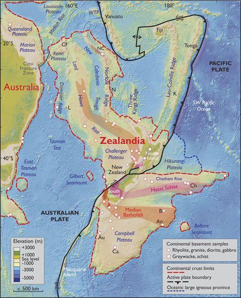 Spatial limits of Zealandia.