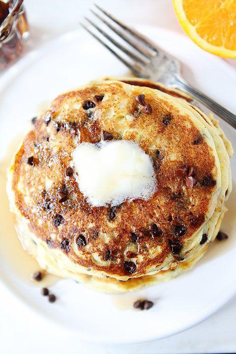 """<strong>Get the <a href=""""http://www.twopeasandtheirpod.com/orange-ricotta-chocolate-chip-pancakes/"""" target=""""_blank"""">Orange Ricotta Chocolate Chip Pancakes recipe</a> from Two Peas and their Pod</strong>"""