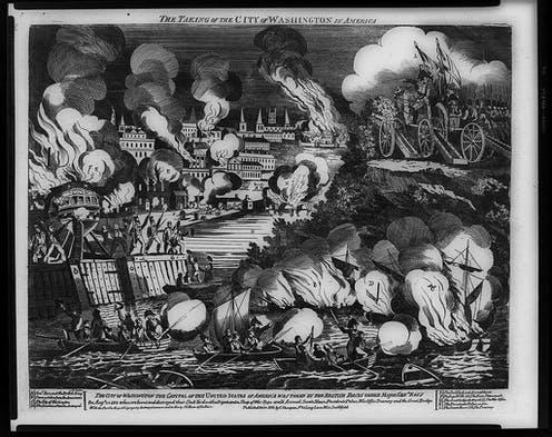 """<span class=""""caption"""">The taking of the city of Washington in America.</span> <span class=""""attribution""""><span class=""""source"""">Library of Congress Prints and Photographs Division Washington</span></span>"""