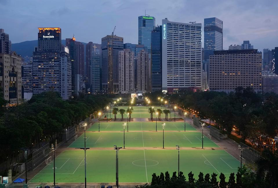 Hong Kong's Victoria Park on June 4 2021, usually the site of an annual candelight vigil remembering the Tiananmen Square crackdown, but police warned people not to attend (AP)