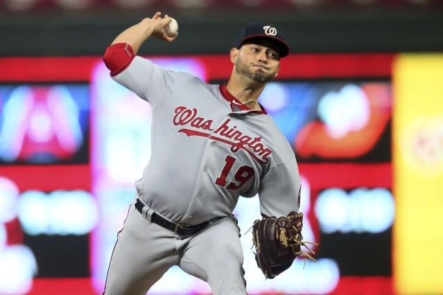 Washington Nationals pitcher Anibal Sanchez throws against the Minnesota Twins in the fifth inning of a baseball game Tuesday, Sept. 10, 2019, in Minneapolis. (AP Photo/Jim Mone)