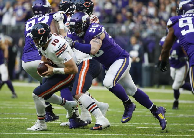 File-This Dec. 31, 2017, file photo shows Minnesota Vikings defensive end Brian Robison (96) sacking Chicago Bears quarterback Mitchell Trubisky (10) during the second half of an NFL football game in Minneapolis. The Vikings have released Robison, their longest-tenured player who's tied for ninth in team history with 60 career sacks. Robison was the standout of the players cut by the Vikings before the deadline on Saturday, Sept. 1, 2018, to reach the 53-man limit for the regular season. (AP Photo/Bruce Kluckhohn, File)