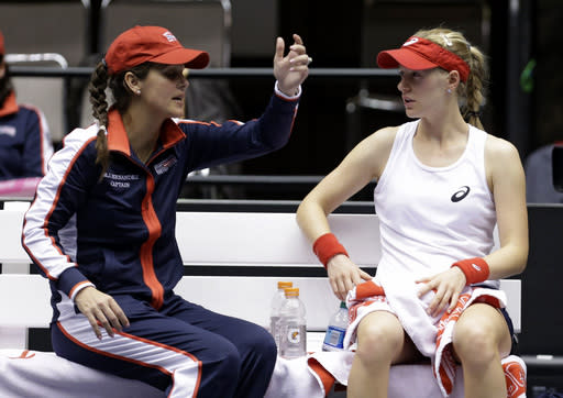 United States' Alison Riske, right, talks with coach Mary Joe Fernandez during a Fed Cup world group tennis match against Italy's Karin Knapp, Sunday, Feb. 9, 2014, in Cleveland. Knapp defeated Riske 6-3, 7-5. (AP Photo/Tony Dejak)
