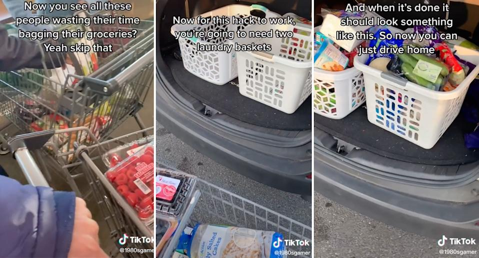 A TikTok video showing people how to save time on grocery shopping