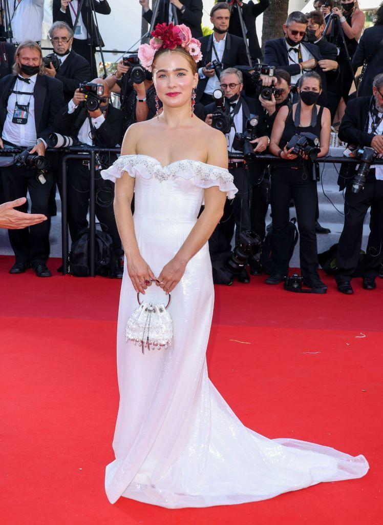<p>The actor looked glowing in Rodarte at Cannes.</p>
