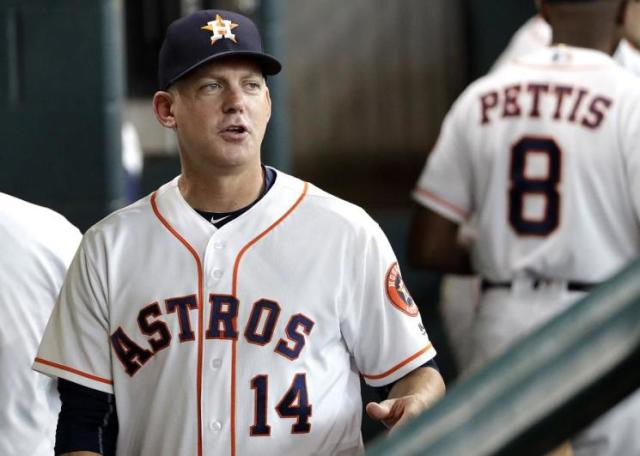 Houston Astros manager A.J. Hinch oversaw the franchise's second 100-win season. (AP)
