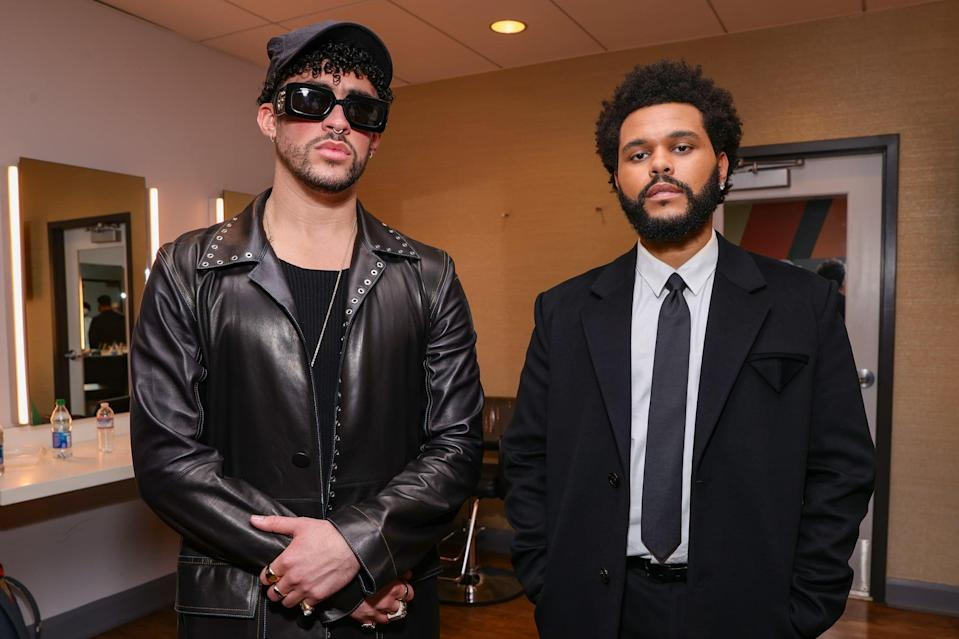 LOS ANGELES, CALIFORNIA - MAY 23: Bad Bunny and The Weeknd pose backstage for the 2021 Billboard Music Awards, broadcast on May 23, 2021 at Microsoft Theater in Los Angeles, California. (Photo by Rich Fury/Getty Images for dcp)