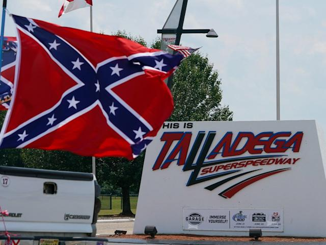 A Confederate flag flies outside the Talladega Superspeedway in Lincoln, Alabama.