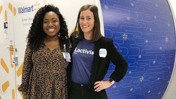 PHOTO: Tennille Webb, left, poses with Mamava executive Nikkie Kent in front of a breastfeeding pod in a Walmart store. (Courtesy Walmart)