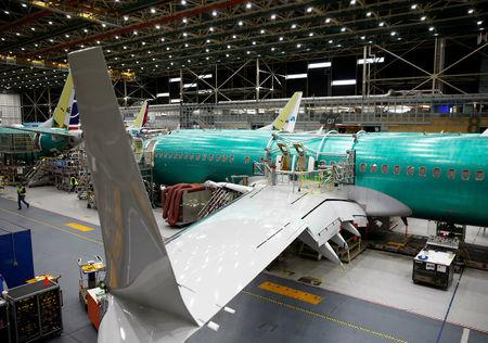 FILE PHOTO: A 737 Max aircraft is pictured at the Boeing factory in Renton