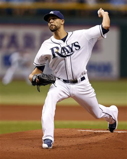 Tampa Bay Rays starting pitcher David Price throws during the first inning of a baseball game against the Houston Astros, Friday, July 12, 2013, in St. Petersburg, Fla. (AP Photo/Mike Carlson)