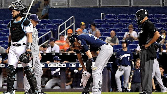 Christian Yelich suffered a season-ending injury in the Milwaukee Brewers' win over the Miami Marlins on Tuesday.