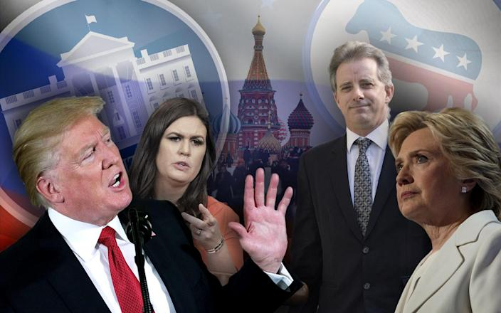 President Trump; White House press secretary Sarah Sanders; former British intelligence agent Christopher Steele; former presidential candidate Hillary Clinton. (Yahoo News photo illustration; photos: AP, Chip Somodevilla/Getty Images, Pablo Martinez Monsivais/AP, Spencer Platt/Getty Images, AP, Victoria Jones/PA via AP, David Hume Kennerly/Getty Images)