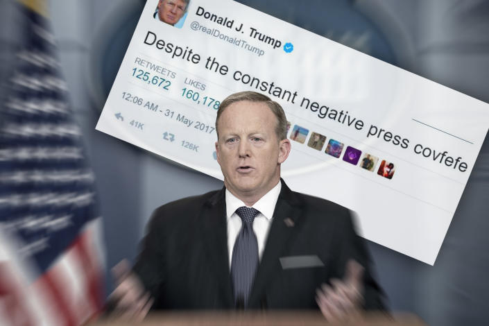 Spicer speaks during a daily press briefing at the White House in May. (Photo illustration: Yahoo News; photos: Andrew Harnik/AP, Twitter)