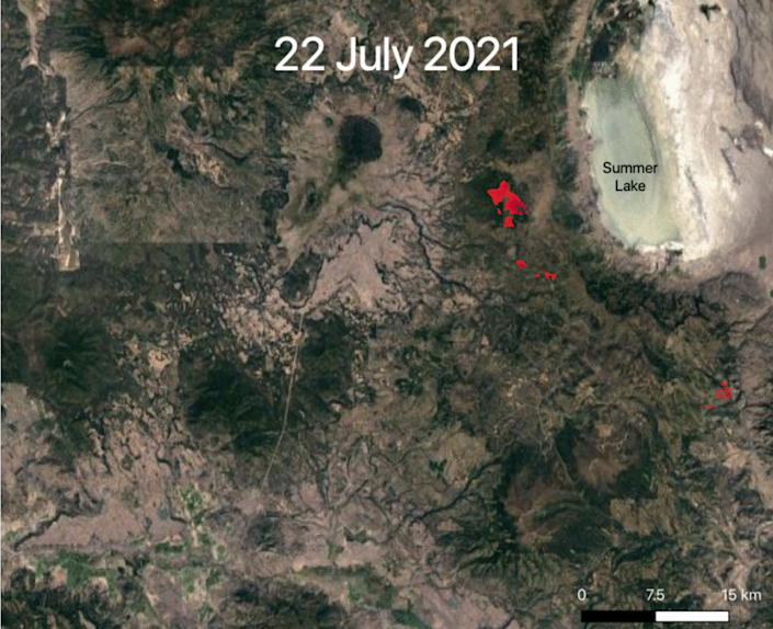 Images from the International Space Station shows how far the Bootleg Fire had spread by July 22 (NASA)