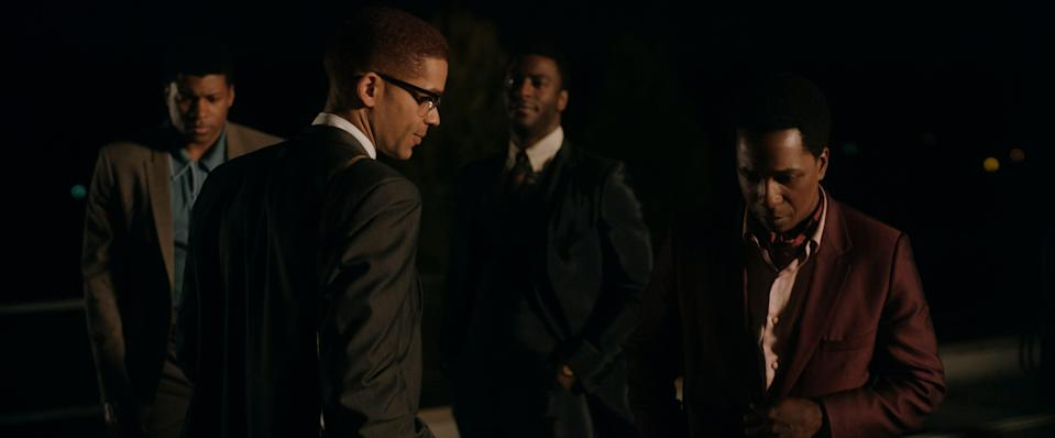 """One Night in Miami"" depicts a fictionalized meeting between friends Muhammad Ali (Eli Goree, left), Malcolm X (Kingsley Ben-Adir), Jim Brown (Aldis Hodge) and Sam Cooke (Leslie Odom Jr.)."