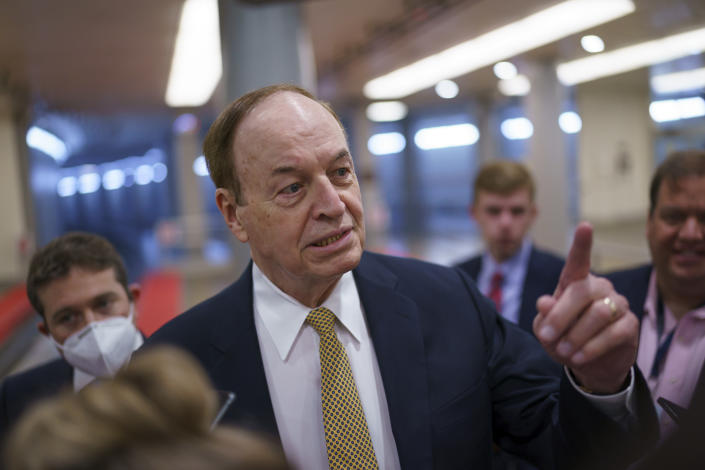 Sen. Richard Shelby, R-Ala., speaks to reporters as intense negotiations continue to salvage a bipartisan infrastructure deal, at the Capitol in Washington, Tuesday, July 27, 2021. (AP Photo/J. Scott Applewhite)