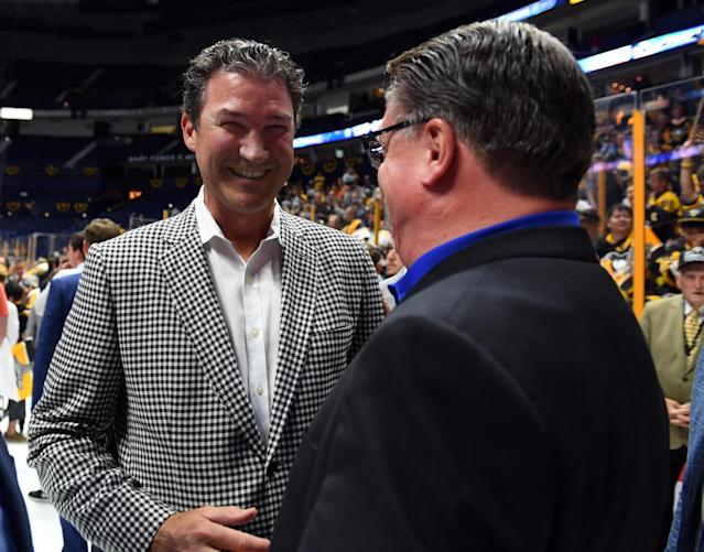 <p>Pittsburgh Penguins owner Mario Lemieux after defeating the Nashville Predators in Game 6 of the 2017 Stanley Cup Final at Bridgestone Arena. Mandatory Credit: Christopher Hanewinckel-USA TODAY Sports </p>