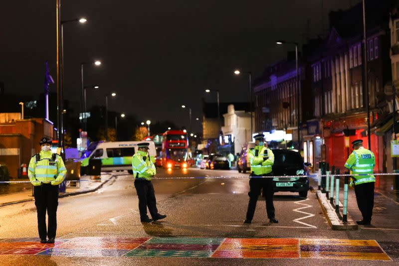 Incident outside Edmonton Police Station, in Enfield north London