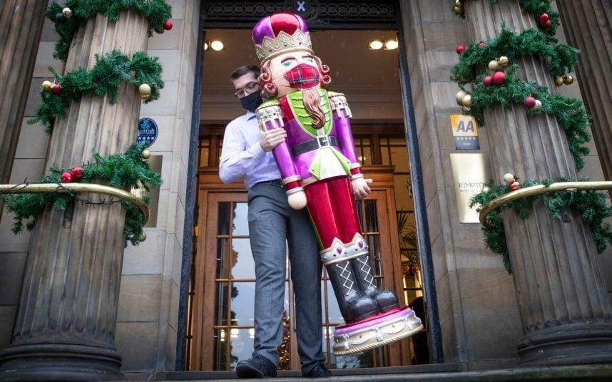 Christmas is back on: Preparations at the Kimpton Blythswood Square Hotel in Glasgow - Jane Barlow/PA